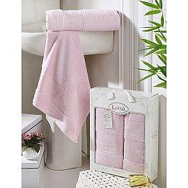 """Комплект полотенец бамбук """"KARNA PANDORA"""" (50*90; 70*140), светло-розовый"""