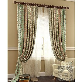 Комплект штор Робиш (персиково-зеленый), 280 см