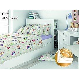 КПБ поплин детский Eco cotton combo Gufo с трикотажной простыней (1.5 спальный)