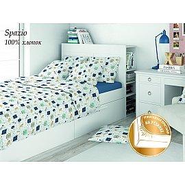 КПБ поплин детский Eco cotton combo Spazio с трикотажной простыней (1.5 спальный)