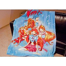 Плед Микрофибер №33, голубой, оранжевый, 150*200 см