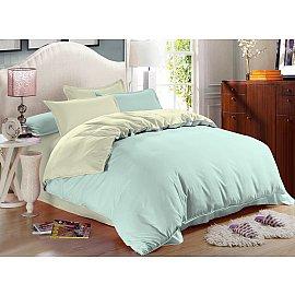 КПБ сатин однотонный Cascade (2 спальный), светло-голубой, светло-зеленый