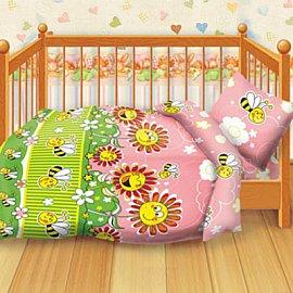 КПБ детский бязь 'Кошки-мышки' КДКм-1 рис.8349-1 Пчелки
