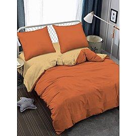 КПБ мако-сатин жатый Яшма, оранжевый, бежевый (2 спальный)