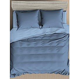 КПБ мако-сатин жатый Сапфир, синий, голубой (Евро)