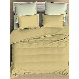 КПБ сатин однотонный Vanilla с простыней на резинке, желтый, светло-зеленый (2 спальный)