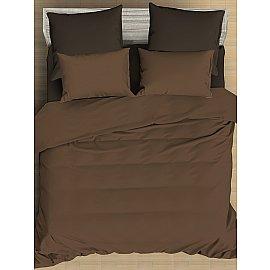 КПБ сатин однотонный Chocolate с простыней на резинке, светло-коричневый, темно-коричневый (2 спальный)