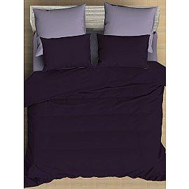 КПБ сатин однотонный Grape с простыней на резинке (2 спальный)