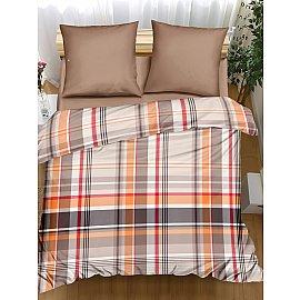 КПБ поплин combo Quickstep, коричневый, оранжевый (1.5 спальный)