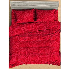 КПБ мако-сатин печатный Deep (Евро), красный