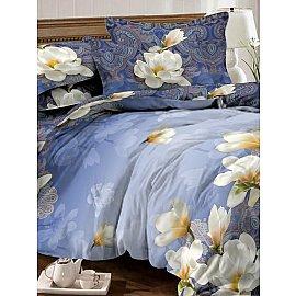 КПБ мако-сатин Lotus, синий (1.5 спальный)
