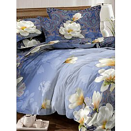 КПБ мако-сатин Lotus, синий (2 спальный)