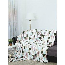 """Плед фланель Absolute """"Мозаика"""", белый, голубой, зеленый, 200*220 см"""