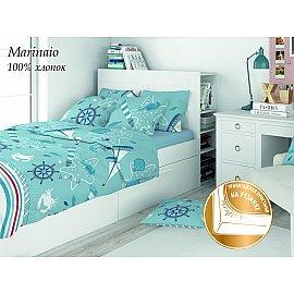 КПБ поплин детский Eco cotton combo Marinaio с трикотажной простыней 50*70 (1.5 спальный)