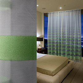 Тюль сетка с полосой RR 11215-113020, зеленый, 300*270 см