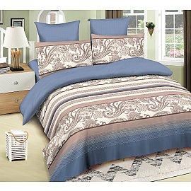 КПБ сатин Amore Mio Robert (1.5 спальный), синий, коричневый