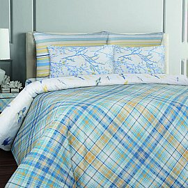 КПБ бязь Mona Liza British KENT Cell blue с наволочками 50*70 (2 спальный)