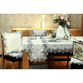Скатерть ABT дизайн 07, белая, серая, 150*220 см
