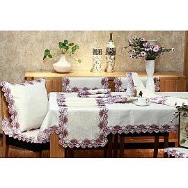 Скатерть ABT дизайн 03, белая, розовая, 110*110 см