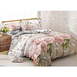 КПБ мако-сатин Amore Mio Jakarta (1.5 спальный), бежевый, розовый