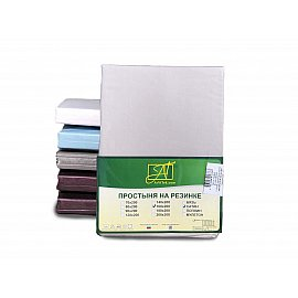 Простынь сатин на резинке, жемчужно-серый, 180*200*25 см