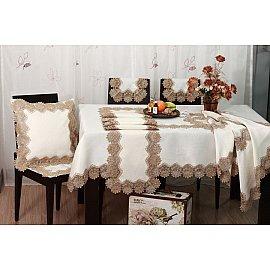 Скатерть ABT дизайн 05, белая, коричневая, 110*110 см