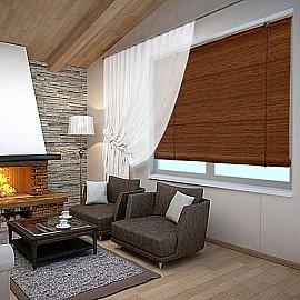 """Бамбуковая рулонная штора """"Нагоя"""", коричневый"""