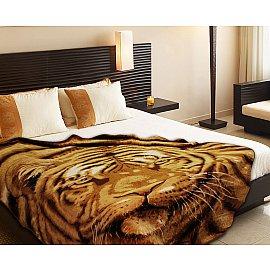 """Плед микрофайбер """"3D Морда тигра"""", коричневый, 150*200 см"""