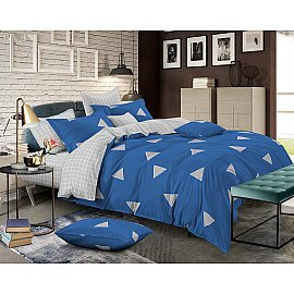 КПБ cатин пигмент Gold Jacob (1.5 спальный), синий