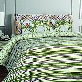 КПБ бязь Mona Liza British ESSEX Stripe green с наволочками 50*70 (Семейный)