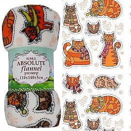 Плед Absolute Коты, оранжевый, 110*140 см