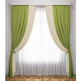 Комплект штор Латур, сливочный, зеленый, 170*270 см