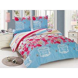 КПБ мако-сатин печатный Inga (1.5 спальный), голубой, розовый