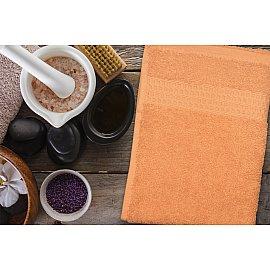 Полотенце махровое однотонное с бордюром Clasic, оранжевый, 30*70 см