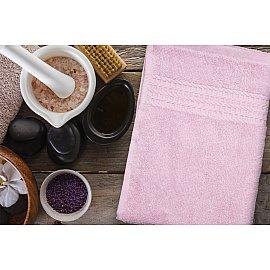 Полотенце махровое однотонное с бордюром Clasic, розовый, 100*150 см