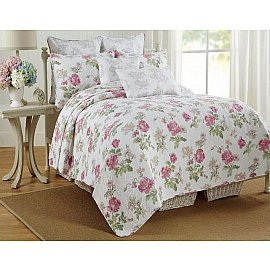 Покрывало Patchwork Poppies, Белый, Зеленый, Розовый, 230*250 см