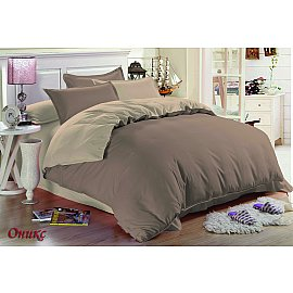 КПБ мако-сатин жатый Оникс (1.5 спальный), бежевый