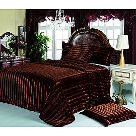 Покрывало меховое Tango Жемчуг коричневый (полоса), 220*240 см