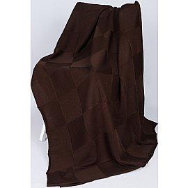 """Плед вязаный """"Квадрат"""" (шоколад), коричневый, 175*210 см"""
