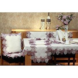 Скатерть ABT дизайн 08, белая, розовая, 110*110 см
