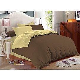 КПБ сатин однотонный Praline (2 спальный), желтый, коричневый