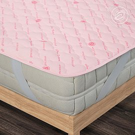 """Наматрасник стеганый """"Комфорт"""" на резинке, розовый, 120*200 см"""