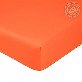 Простынь сатин на резинке, оранжевый, арт. 834_гк, 160*200 см