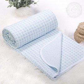 """Одеяло-покрывало трикотажное """"Клетка голубая"""""""