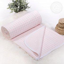 """Одеяло-покрывало трикотажное """"Клетка розовая"""", 100*140 см"""