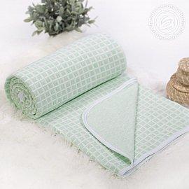 """Одеяло-покрывало трикотажное """"Клетка зеленая"""", 100*140 см"""