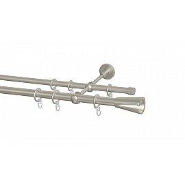 Карниз металлический Arttex с наконечником №11, 2-рядный, сталь, 240 см, ø 20 мм, ø 16 мм
