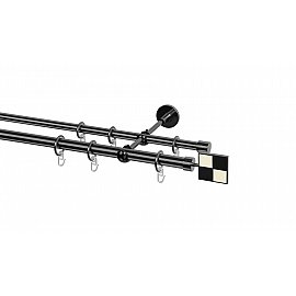 Карниз металлический Arttex с наконечником №115, 2-рядный, оникс, 200 см, ø 20 мм, ø 16 мм