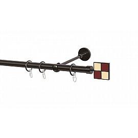 Карниз металлический Arttex с наконечником №116, 1-рядный, шоколад, 240 см, ø 20 мм