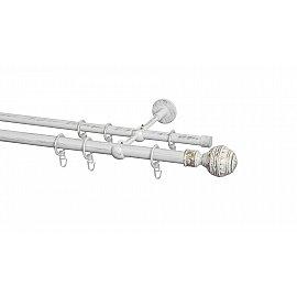 Карниз металлический Arttex с наконечником №255, 2-рядный, белое золото ампир, 200 см, ø 20 мм, ø 16 мм